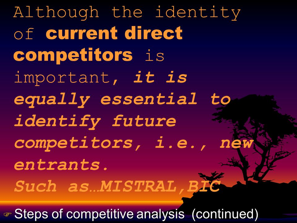 Although the identity of current direct competitors is important, it is equally essential to identify future competitors, i.e., new entrants.