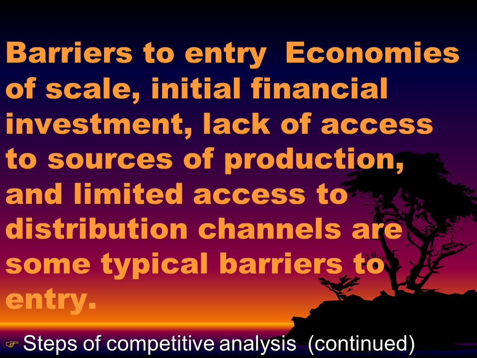Barriers to entry …Tariffs, quotas, customs, and governmental intervention are some international entry barriers.