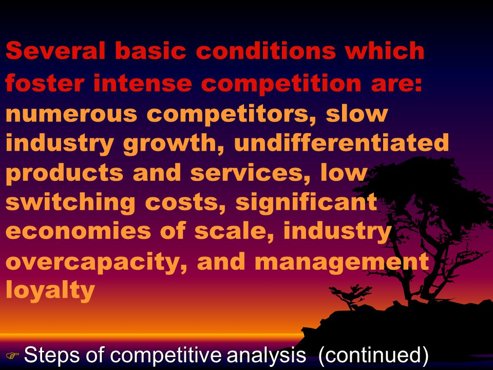 The ultimate purpose of performing a competitive analysis is to identify possible avenues for attaining a sustainable advantage over competitors so as to achieve product or product line objectives.