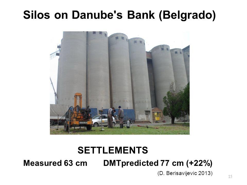 Silos on Danube s Bank (Belgrado) 15 SETTLEMENTS Measured 63 cm DMTpredicted 77 cm (+22%) (D.