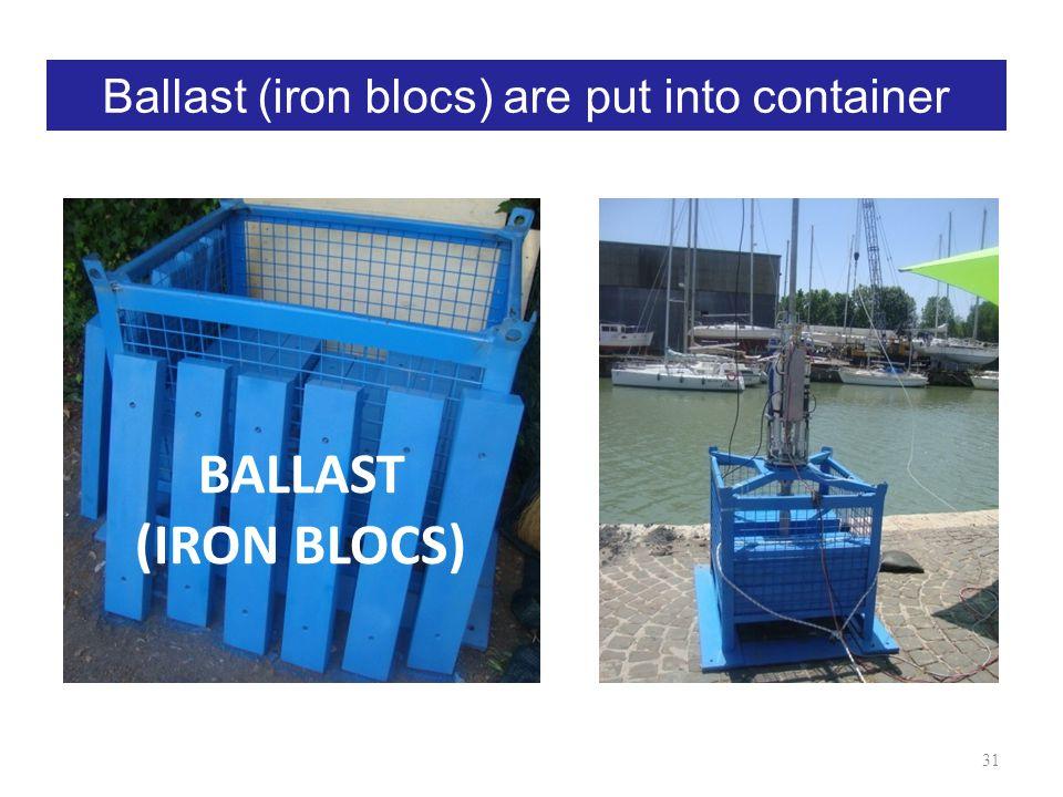 Ballast (iron blocs) are put into container BALLAST (IRON BLOCS) 31