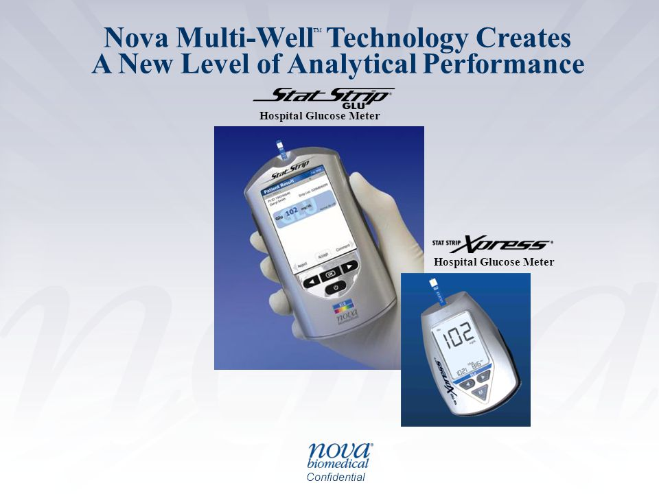 Confidential Nova Multi-Well Technology Creates A New Level of Analytical Performance Hospital Glucose Meter TM