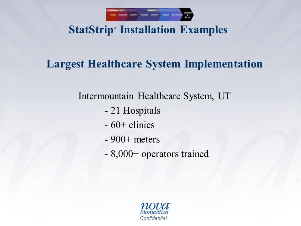 Confidential Largest Healthcare System Implementation Intermountain Healthcare System, UT - 21 Hospitals - 60+ clinics - 900+ meters - 8,000+ operators trained StatStrip ® Installation Examples