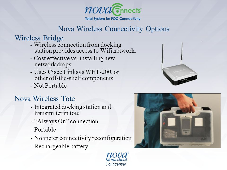 Confidential Nova Wireless Connectivity Options Wireless Bridge - Wireless connection from docking station provides access to Wifi network. - Cost eff