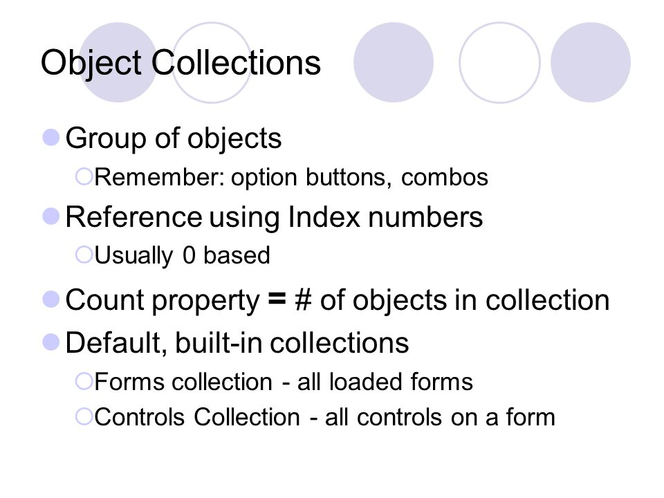 Err Object Intrinsic VB object (like Printer object you used in Programming in Visual Basic 6 book) Properties  Number - error number, 0 to 65,535  Source - object or application that caused error  Description Method  Raise - set an error number and/or cause it to occur