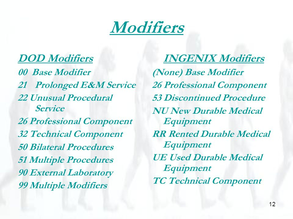 12 Modifiers DOD Modifiers 00 Base Modifier 21Prolonged E&M Service 22 Unusual Procedural Service 26 Professional Component 32 Technical Component 50 Bilateral Procedures 51 Multiple Procedures 90 External Laboratory 99 Multiple Modifiers INGENIX Modifiers (None) Base Modifier 26 Professional Component 53 Discontinued Procedure NU New Durable Medical Equipment RR Rented Durable Medical Equipment UE Used Durable Medical Equipment TC Technical Component
