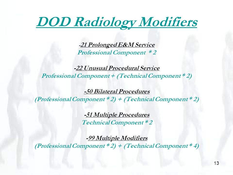 13 DOD Radiology Modifiers - 21 Prolonged E&M Service Professional Component * 2 -22 Unusual Procedural Service Professional Component + (Technical Component * 2) -50 Bilateral Procedures (Professional Component * 2) + (Technical Component * 2) -51 Multiple Procedures Technical Component * 2 -99 Multiple Modifiers (Professional Component * 2) + (Technical Component * 4)