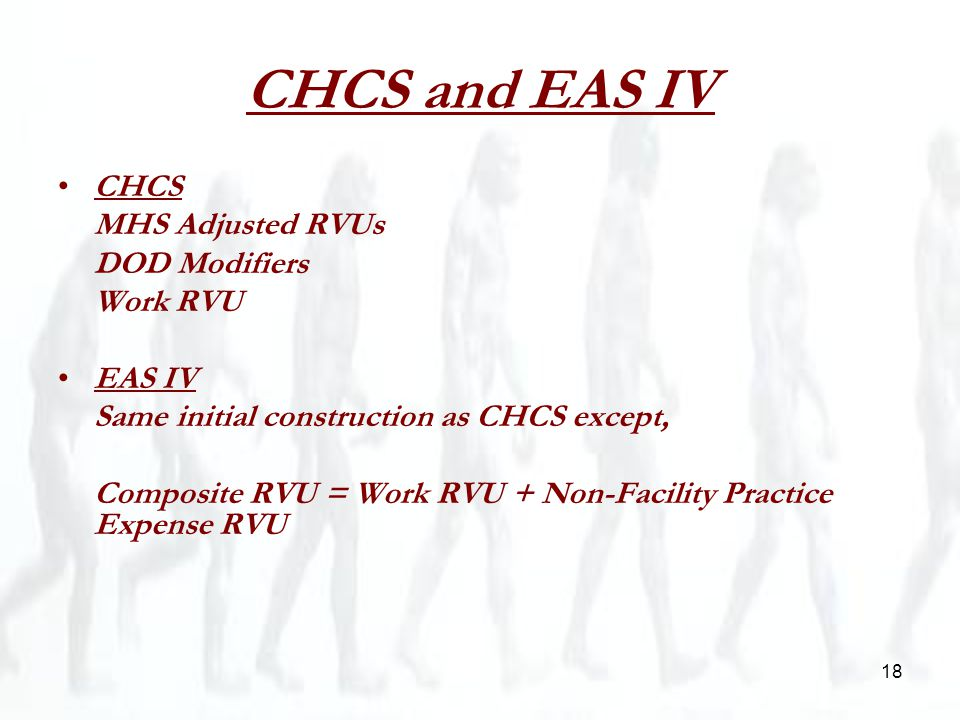 18 CHCS and EAS IV CHCS MHS Adjusted RVUs DOD Modifiers Work RVU EAS IV Same initial construction as CHCS except, Composite RVU = Work RVU + Non-Facility Practice Expense RVU