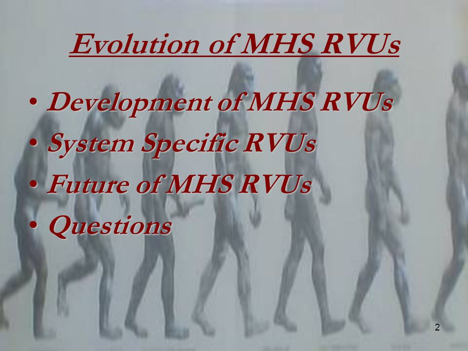 2 Evolution of MHS RVUs Development of MHS RVUsDevelopment of MHS RVUs System Specific RVUsSystem Specific RVUs Future of MHS RVUsFuture of MHS RVUs QuestionsQuestions