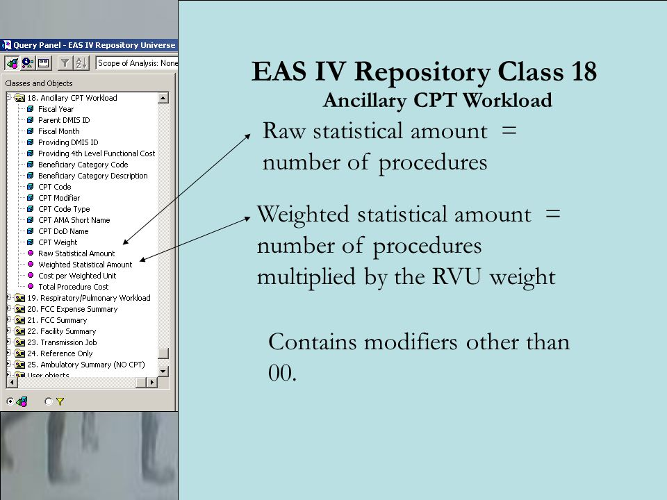 23 EAS IV Repository Class 18 Raw statistical amount = number of procedures Weighted statistical amount = number of procedures multiplied by the RVU weight Contains modifiers other than 00.