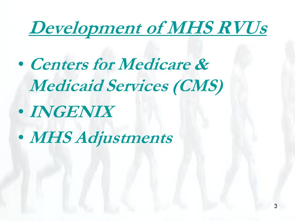 3 Development of MHS RVUs Centers for Medicare & Medicaid Services (CMS) INGENIX MHS Adjustments