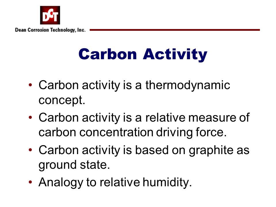 Carbon Activity Carbon activity is a thermodynamic concept. Carbon activity is a relative measure of carbon concentration driving force. Carbon activi