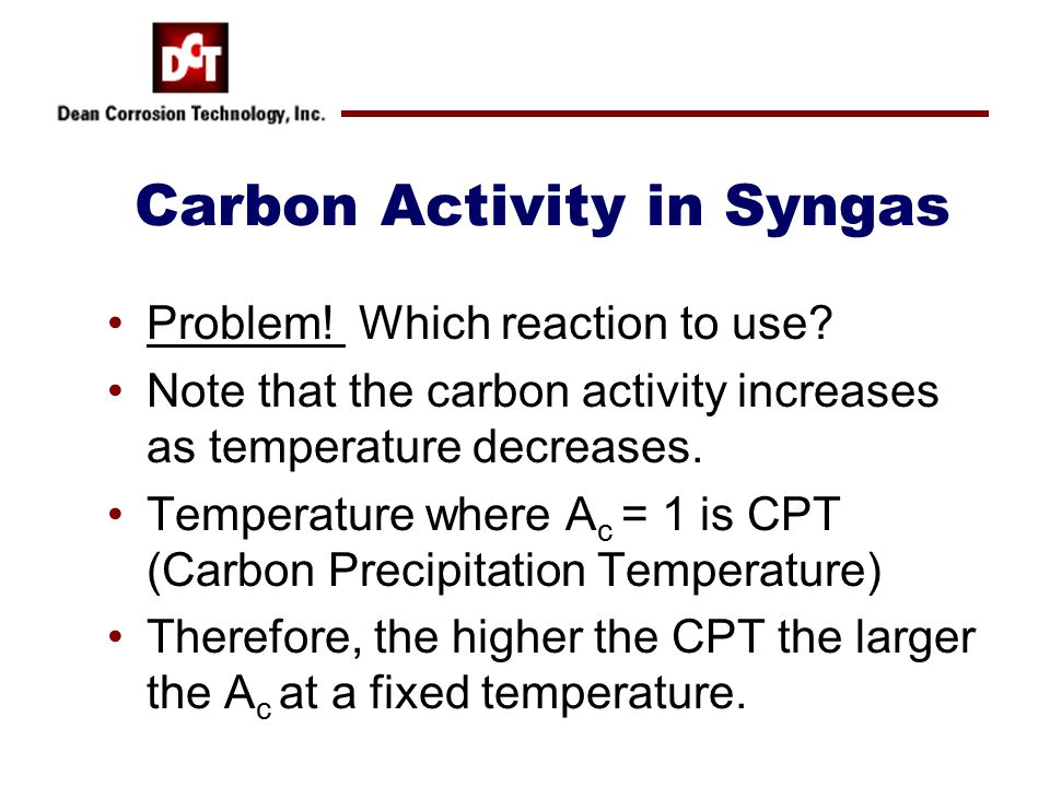 Carbon Activity in Syngas Problem. Which reaction to use.