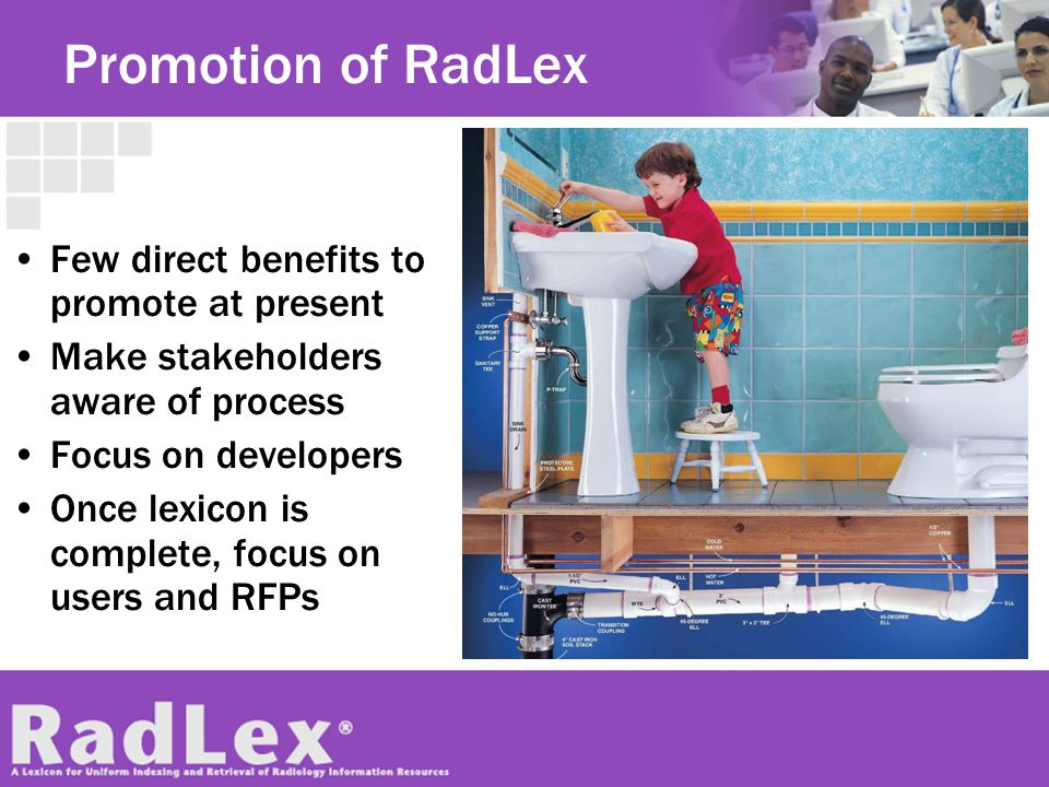 Promotion of RadLex Few direct benefits to promote at present Make stakeholders aware of process Focus on developers Once lexicon is complete, focus o