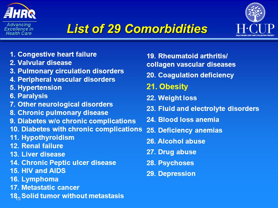 Advancing Excellence in Health Care 13 List of 29 Comorbidities 1. Congestive heart failure 2. Valvular disease 3. Pulmonary circulation disorders 4.