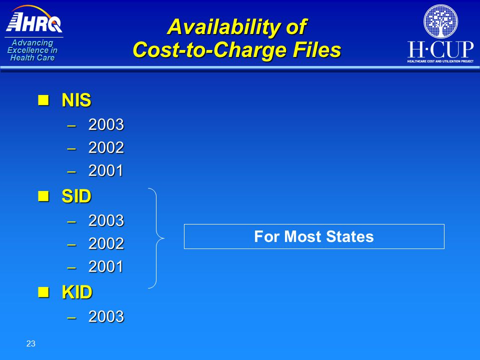 Advancing Excellence in Health Care 23 Availability of Cost-to-Charge Files NIS NIS – 2003 – 2002 – 2001 SID SID – 2003 – 2002 – 2001 KID KID – 2003 F