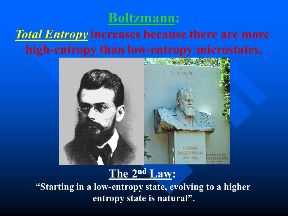 Boltzmann: Total Entropy increases because there are more high-entropy than low-entropy microstates.