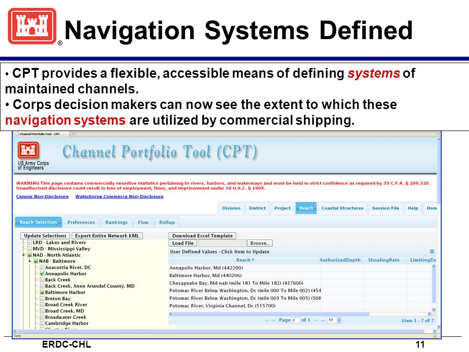 Navigation Systems Defined ERDC-CHL11 CPT provides a flexible, accessible means of defining systems of maintained channels.