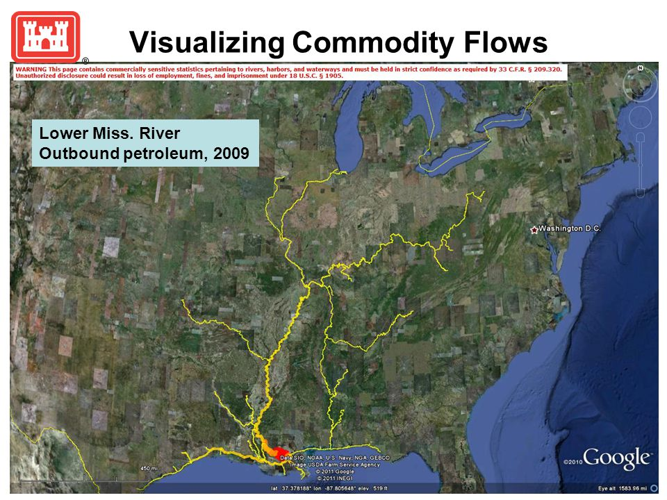 Visualizing Commodity Flows Lower Miss. River Outbound petroleum, 2009