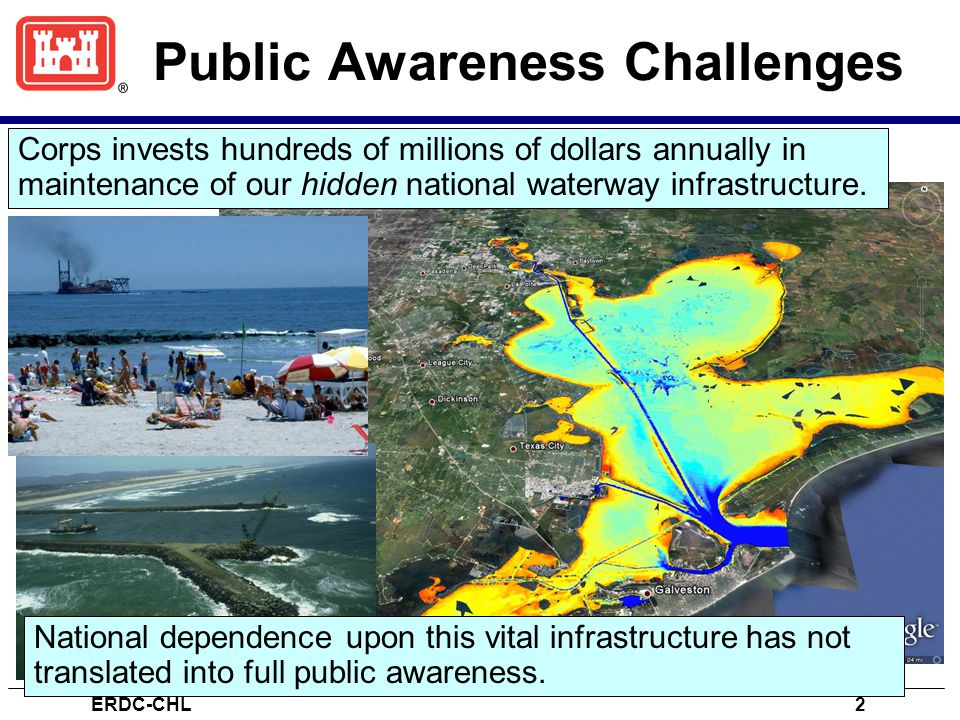 Public Awareness Challenges Corps invests hundreds of millions of dollars annually in maintenance of our hidden national waterway infrastructure.