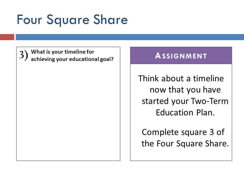 Four Square Share 3) Think about a timeline now that you have started your Two-Term Education Plan.