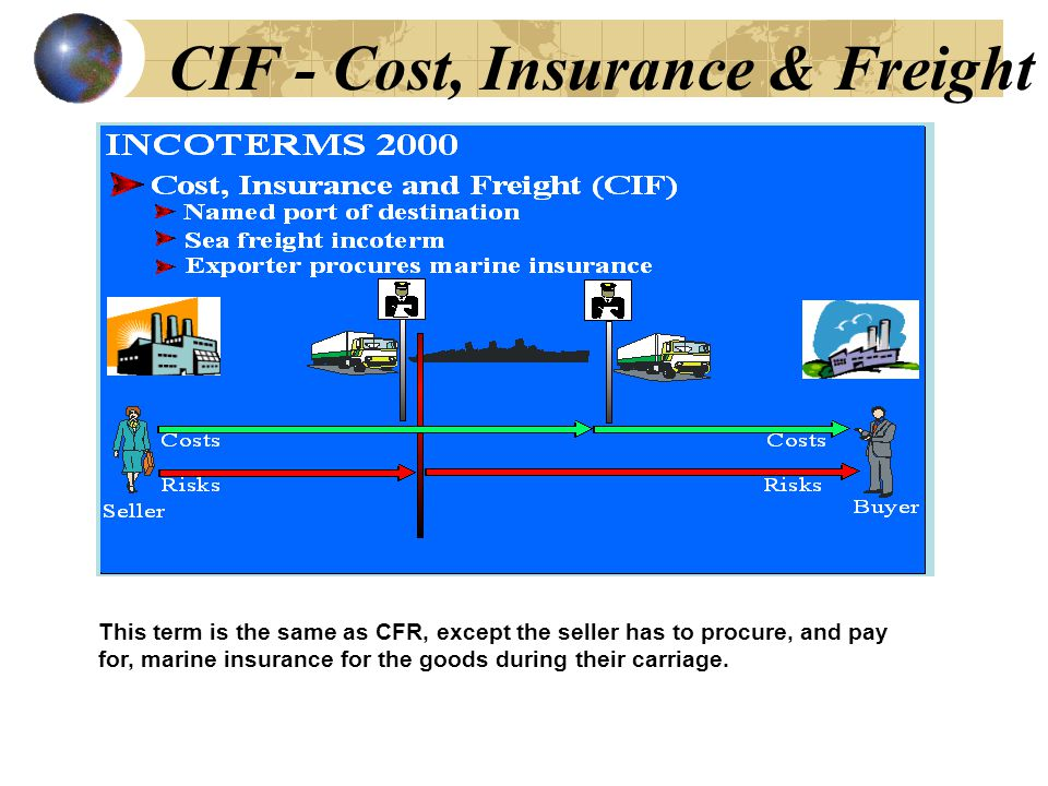 CIF - Cost, Insurance & Freight This term is the same as CFR, except the seller has to procure, and pay for, marine insurance for the goods during their carriage.