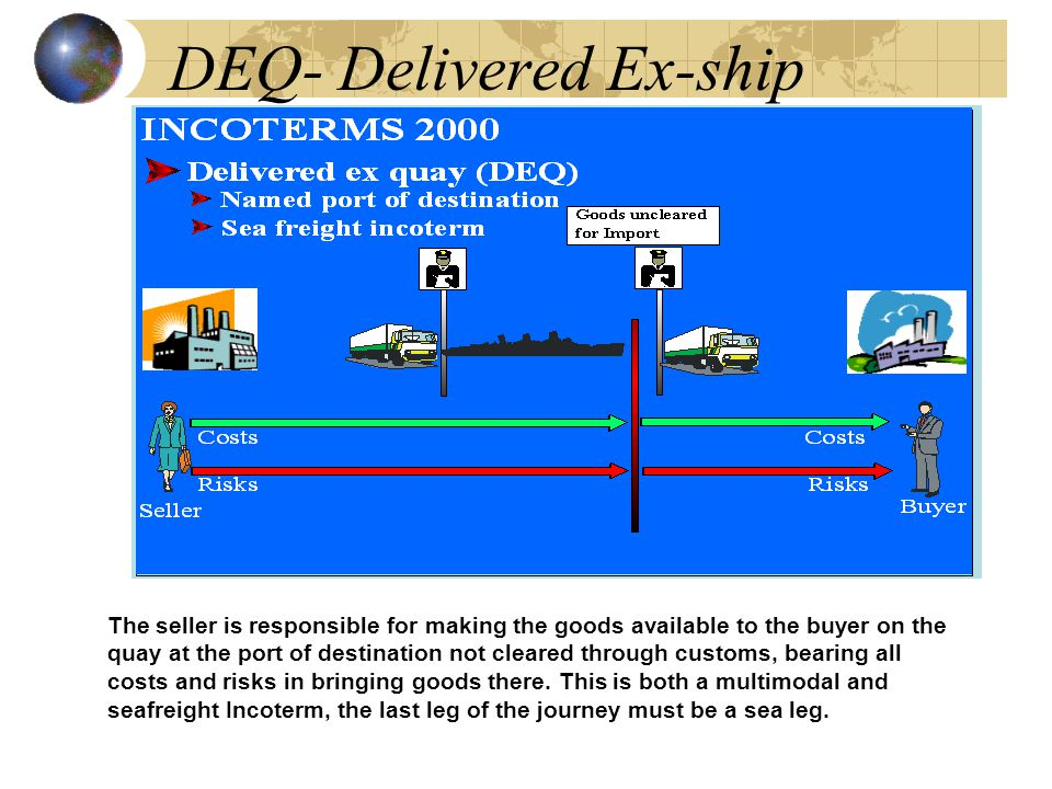 DEQ- Delivered Ex-ship The seller is responsible for making the goods available to the buyer on the quay at the port of destination not cleared through customs, bearing all costs and risks in bringing goods there.