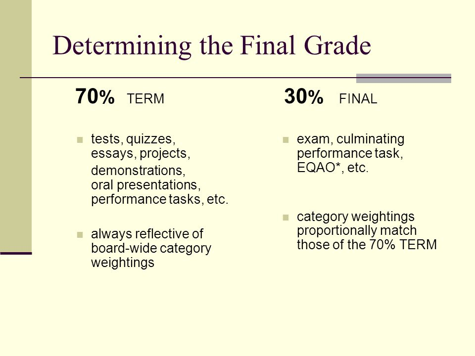 Assessment & Evaluation TYPES DIAGNOSTIC initial assessment NOT factored into grade FORMATIVE gathered throughout unit of study SOME may be reflected in final grade SUMMATIVE used to judge student's achievement at end of unit of study ALWAYS reflected in final grade Evaluation