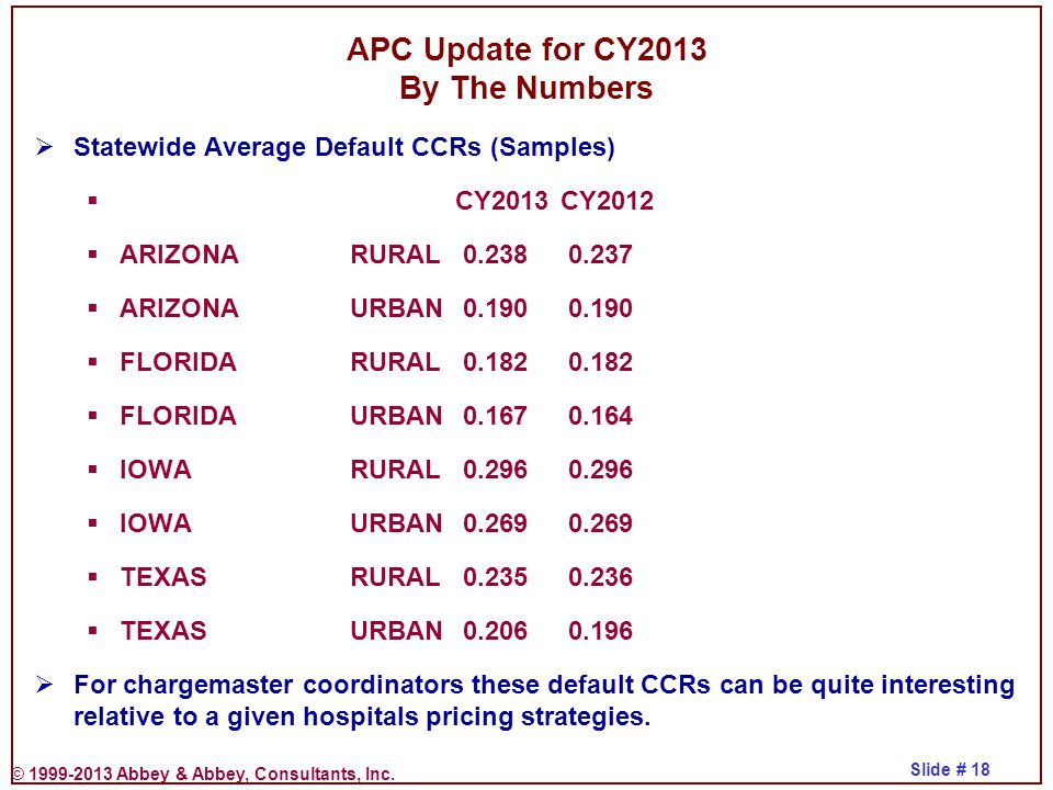 © 1999-2013 Abbey & Abbey, Consultants, Inc. Slide # 18 APC Update for CY2013 By The Numbers  Statewide Average Default CCRs (Samples)  CY2013CY2012