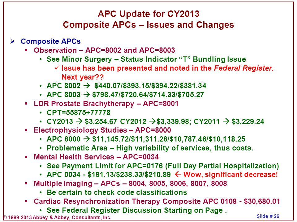 © 1999-2013 Abbey & Abbey, Consultants, Inc. Slide # 26 APC Update for CY2013 Composite APCs – Issues and Changes  Composite APCs  Observation – APC