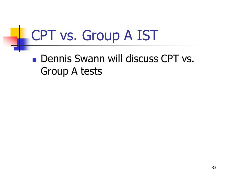 33 CPT vs. Group A IST Dennis Swann will discuss CPT vs. Group A tests