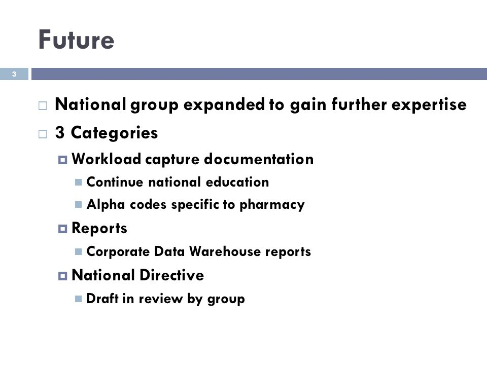 Future  National group expanded to gain further expertise  3 Categories  Workload capture documentation Continue national education Alpha codes spe