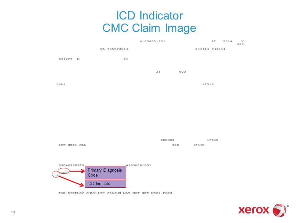 ICD Indicator CMC Claim Image 11 Primary Diagnosis Code ICD Indicator