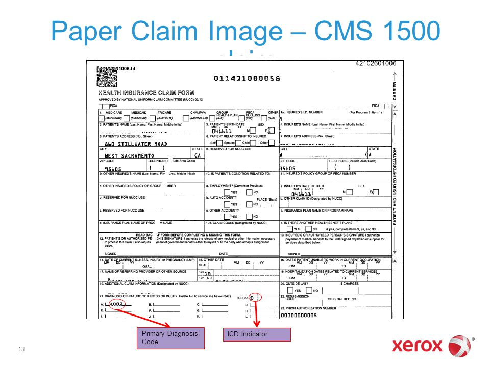 Paper Claim Image – CMS 1500 claim 13 ICD Indicator Primary Diagnosis Code