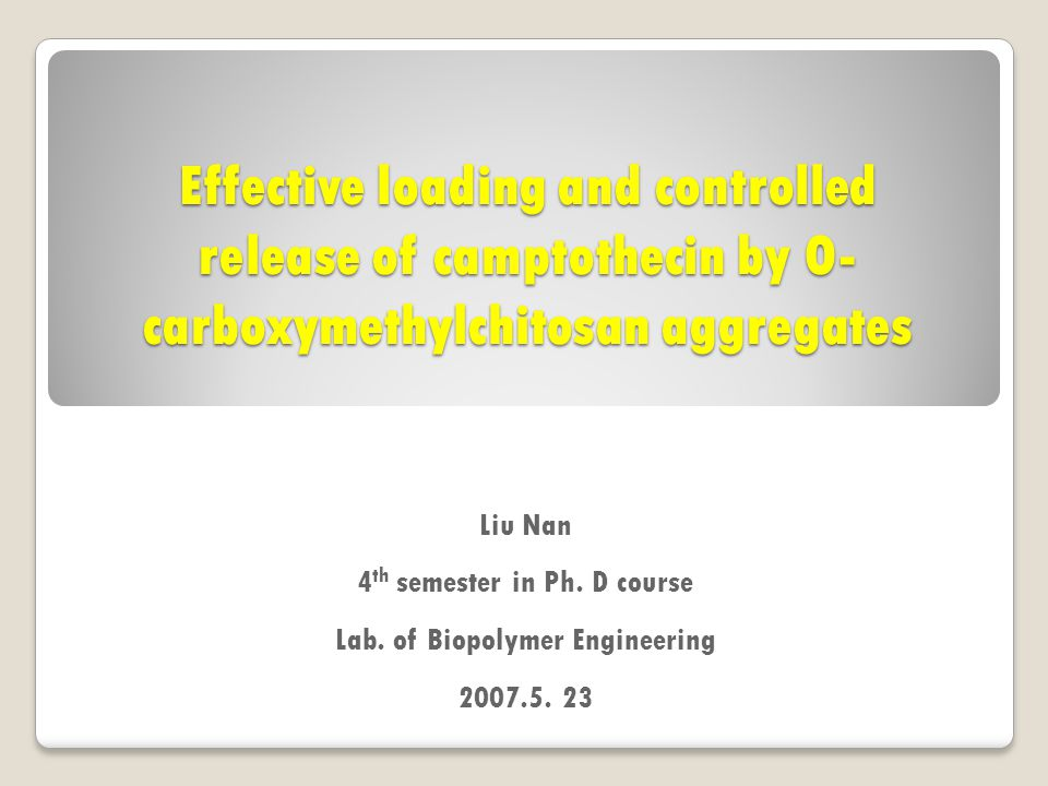 Effective loading and controlled release of camptothecin by O- carboxymethylchitosan aggregates Liu Nan 4 th semester in Ph.