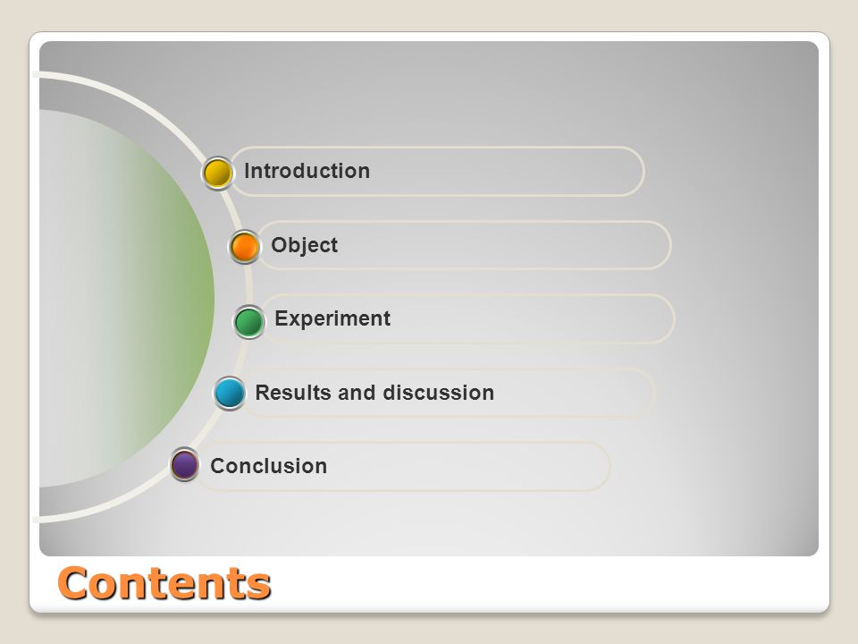 Contents Conclusion Results and discussion Experiment Introduction Object