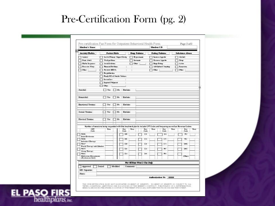 Pre-Certification Form