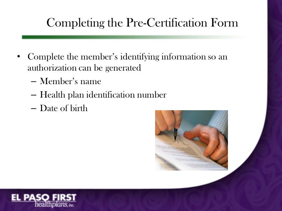 Pre-Certification Form (pg. 2)