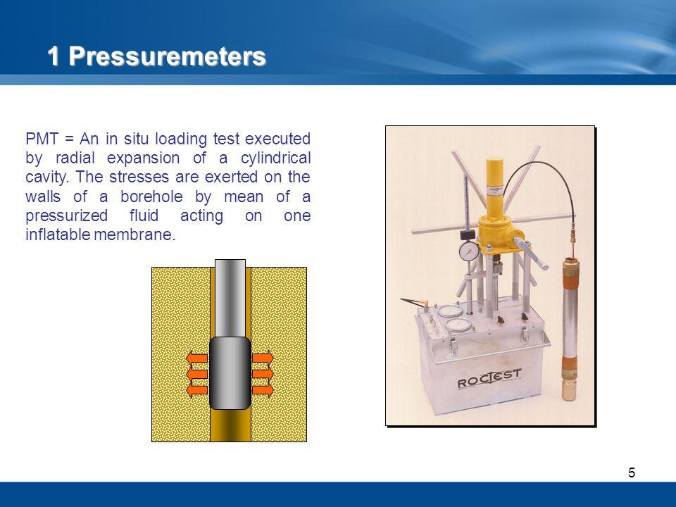 16 Interesting tool because minimizes remolding Confined to soils with few gravels 1.2 The Equipment Self-Boring Pressuremeters: BOREMAC Pressuremeter (volumetric, hydraulic, mono-cellular probe)
