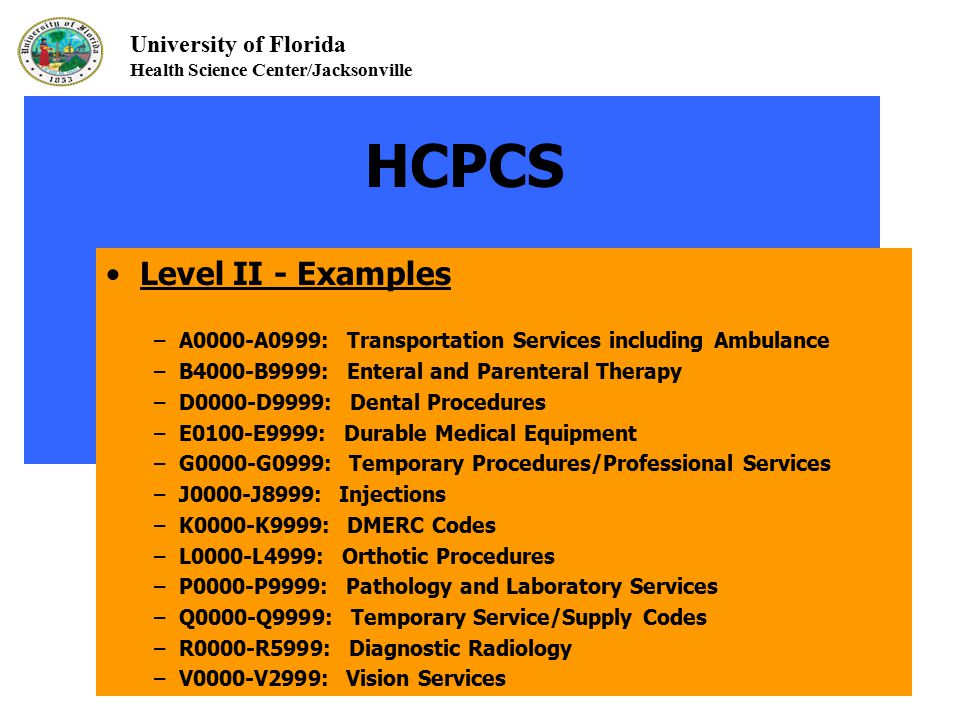 University of Florida Health Science Center/Jacksonville HCPCS Level II - Examples – A0000-A0999: Transportation Services including Ambulance – B4000-