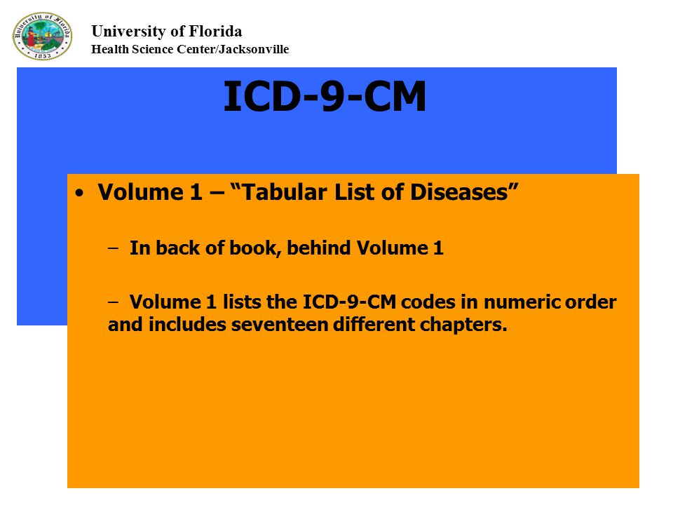 "University of Florida Health Science Center/Jacksonville ICD-9-CM Volume 1 – ""Tabular List of Diseases"" – In back of book, behind Volume 1 – Volume 1"