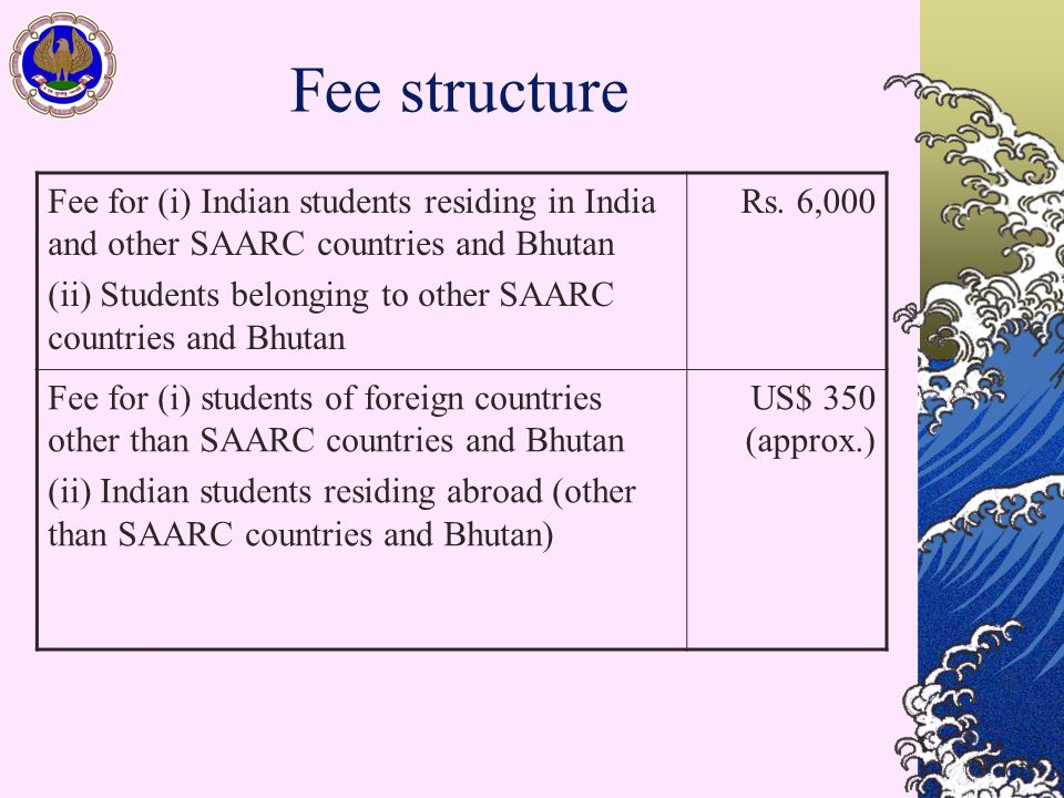 Fee structure Fee for (i) Indian students residing in India and other SAARC countries and Bhutan (ii) Students belonging to other SAARC countries and Bhutan Rs.