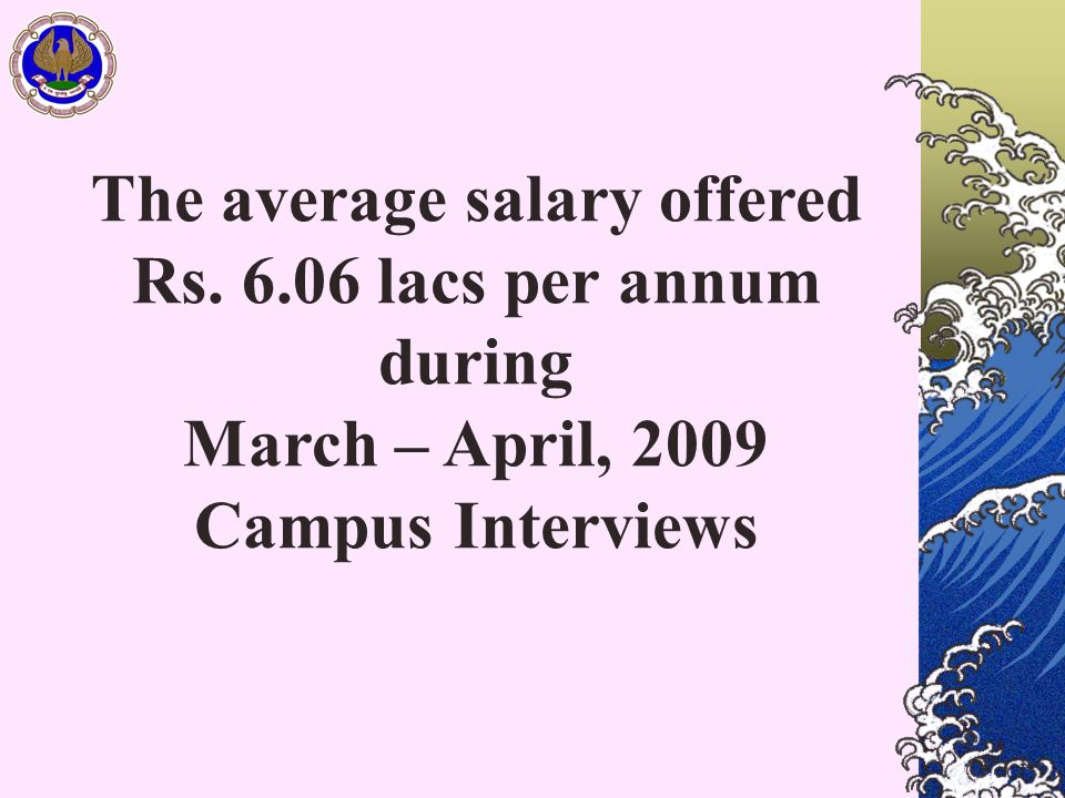 The average salary offered Rs. 6.06 lacs per annum during March – April, 2009 Campus Interviews