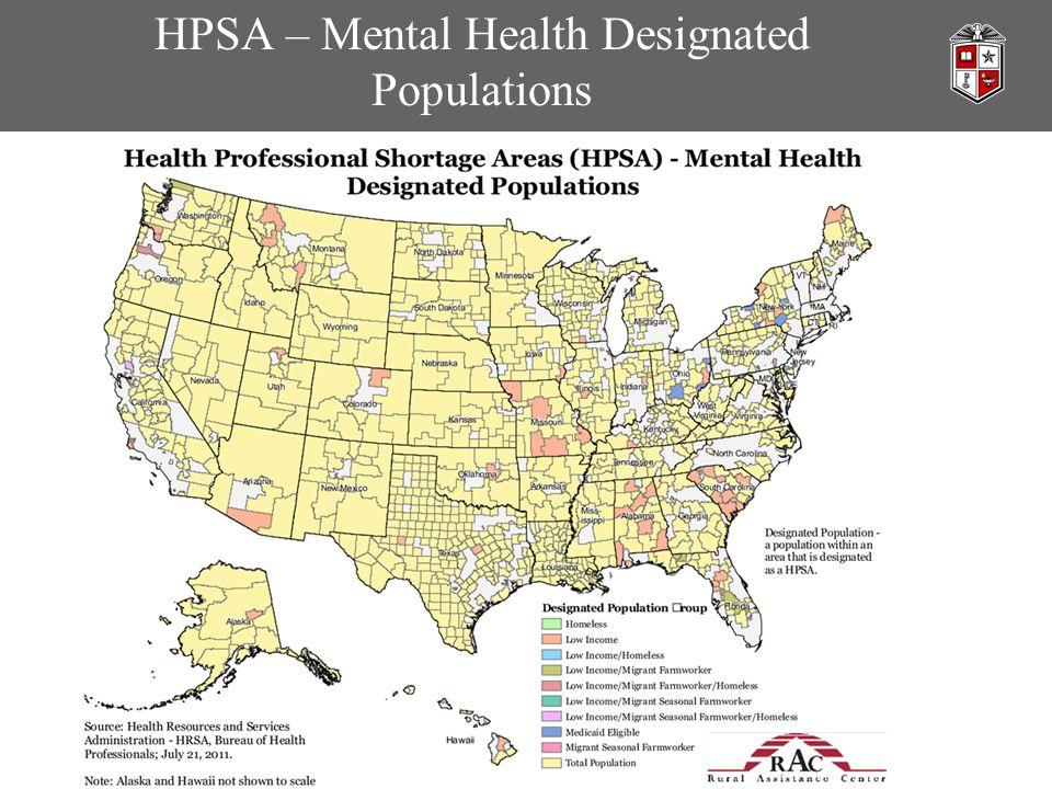 HPSA – Mental Health Designated Populations