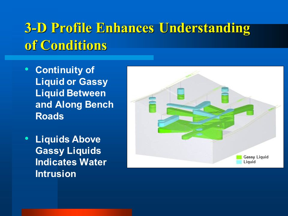 3-D Profile Enhances Understanding of Conditions Continuity of Liquid or Gassy Liquid Between and Along Bench Roads Liquids Above Gassy Liquids Indica