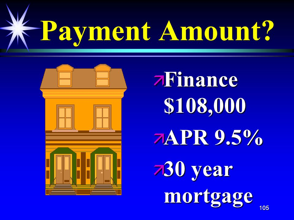 105 Payment Amount ä Finance $108,000 ä APR 9.5% ä 30 year mortgage