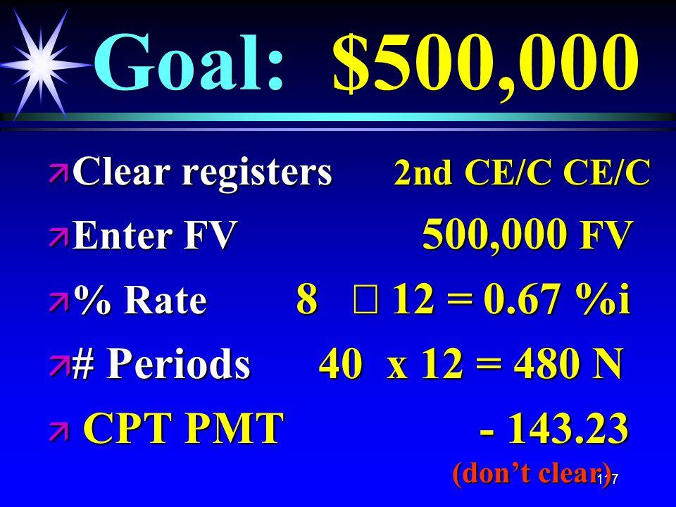 117 Goal: $500,000 ä Clear registers 2nd CE/C CE/C ä Enter FV 500,000 FV  % Rate 8  12 = 0.67 %i ä # Periods 40 x 12 = 480 N ä CPT PMT - 143.23 (don't clear)