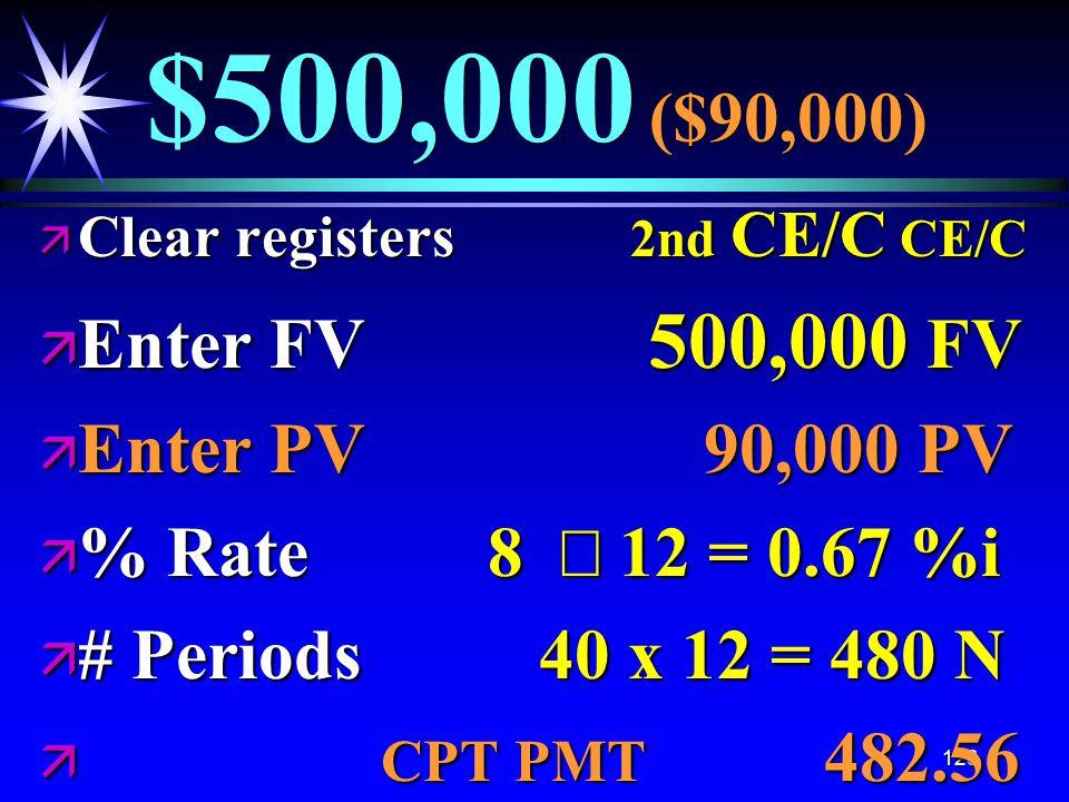 123 $500,000 ($90,000) ä Clear registers 2nd CE/C CE/C ä Enter FV 500,000 FV ä Enter PV 90,000 PV  % Rate 8  12 = 0.67 %i ä # Periods 40 x 12 = 480 N ä CPT PMT 482.56