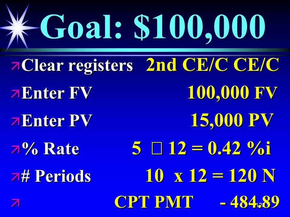 128 Goal: $100,000 ä Clear registers 2nd CE/C CE/C ä Enter FV 100,000 FV ä Enter PV 15,000 PV  % Rate 5  12 = 0.42 %i ä # Periods 10 x 12 = 120 N ä CPT PMT - 484.89