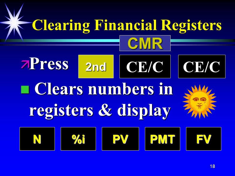 18 Clearing Financial Registers ä Press key n Clears numbers in registers & display N%iPVPMTFV CE/C2nd CMR
